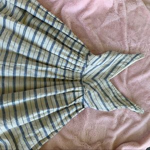Soft yellow and blue stripe linen pocket dress
